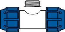 KPE idomok - külső menetes t-idom ábra